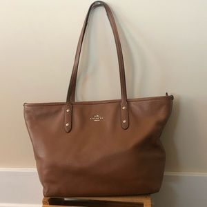 Coach City Tote Brown Leather